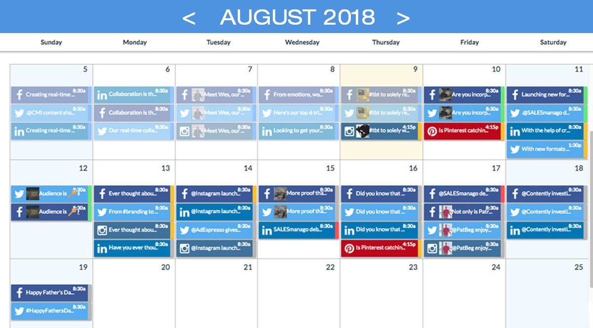 Schedule | Social Media | Calendar